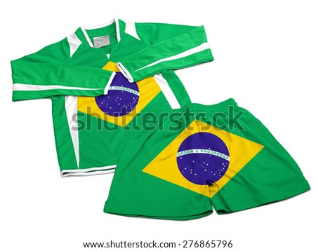 Flag from Brazil on polyester nylon soccer sportswear shorts and sweet shirt isolated on white ( clipping path ) - stock photo
