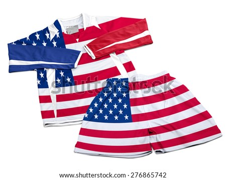 Flag from USA on polyester nylon soccer sportswear shorts and sweet shirt isolated on white ( clipping path ) - stock photo