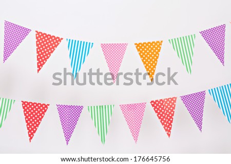 Flag garland on white background - stock photo
