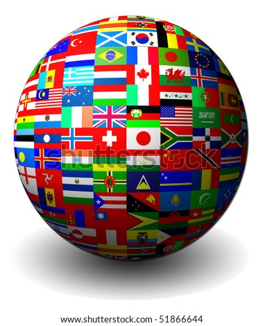 Flag globe - stock photo