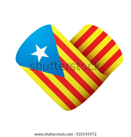 flag icon in the form of heart. I love Catalonia. Illustration Isolated on white background. - stock photo