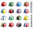 Flag icon set (part 12) Turkey, Turkmenistan, Tuvalu, Uganda, Ukraine, United Arab Emirates, Great Britain, USA, Uzbekistan, Vanuatu, Vatican, Venezuela, Vietnam, Yemen, Yugoslavia - stock photo