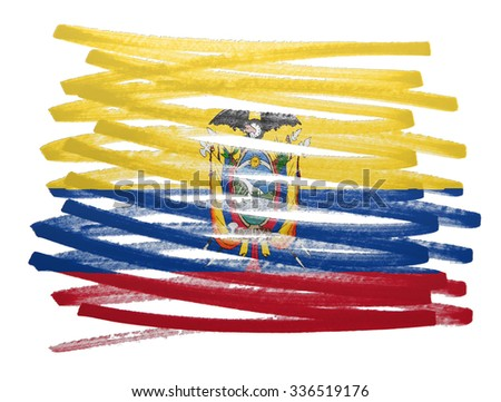 Flag illustration made with pen - Ecuador - stock photo