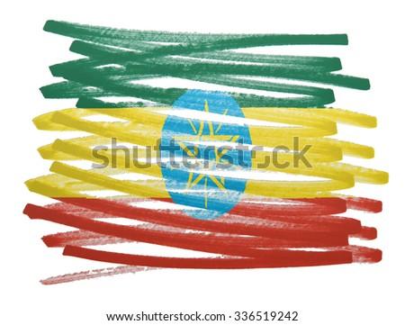 Flag illustration made with pen - Ethiopia - stock photo