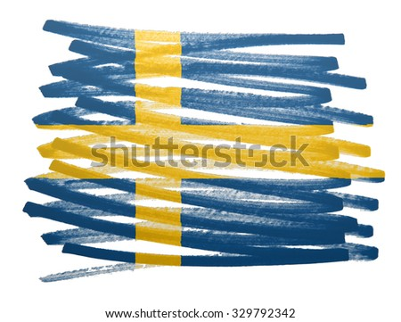 Flag illustration made with pen - Sweden