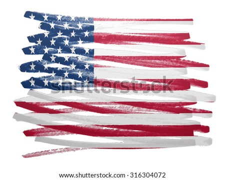 Flag illustration made with pen - USA - stock photo