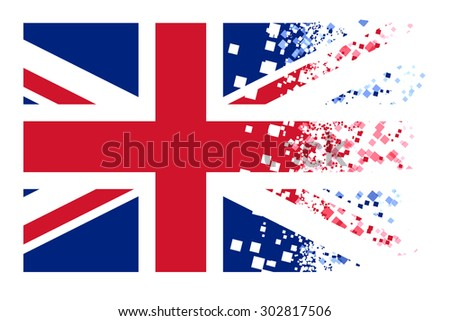 flag in pixel explosion effect on white background