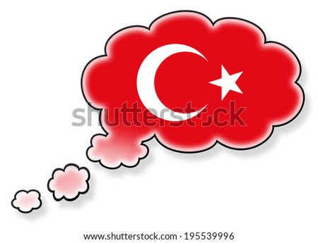 Flag in the cloud, isolated on white background, flag of Turkey