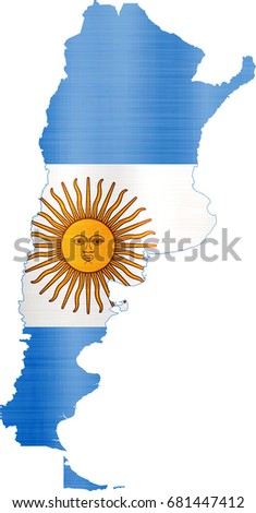 Country Shape Outlined Filled Flag Argentina Stock Vector - Argentina map shape