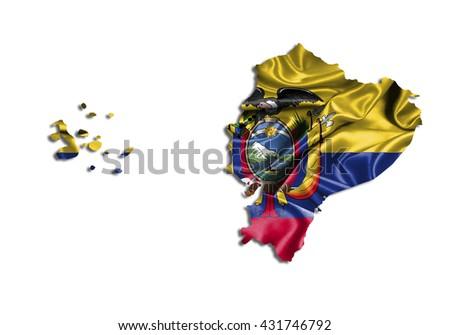 Flag map-ecuador country on white background. - stock photo