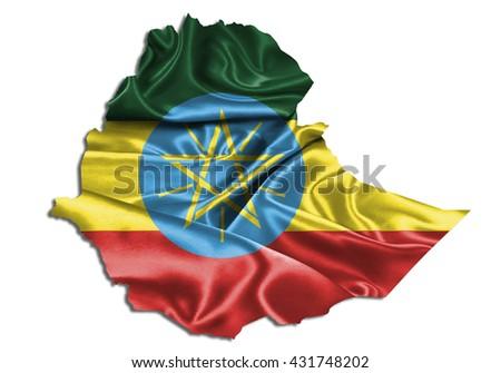 Flag map-ethiopia country on white background. - stock photo