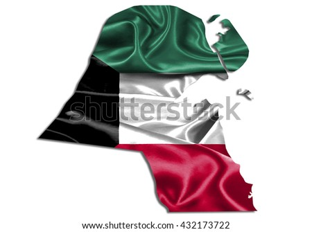 Flag map-kuwait country on white background. - stock photo