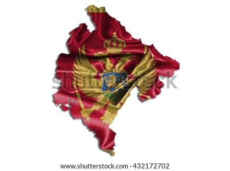 Flag map-montenegro country on white background. - stock photo