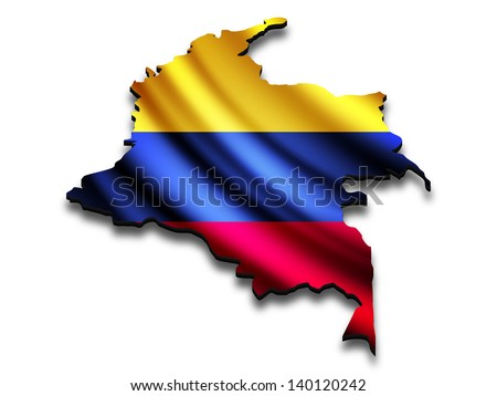 Flag map of Colombia in perspective. Waving Colombian flag clipped in country shape. - stock photo