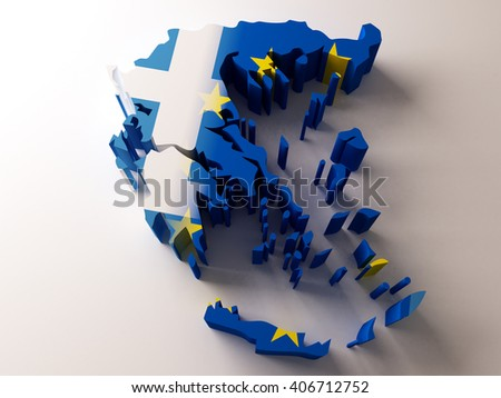 Flag map of Greece and European Union on white background. 3d illustration. - stock photo