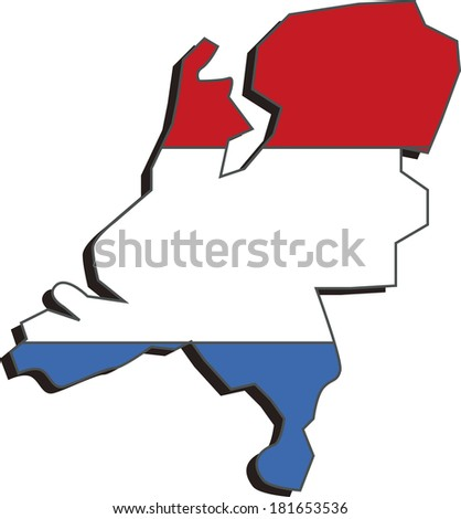 Flag map of Netherlands