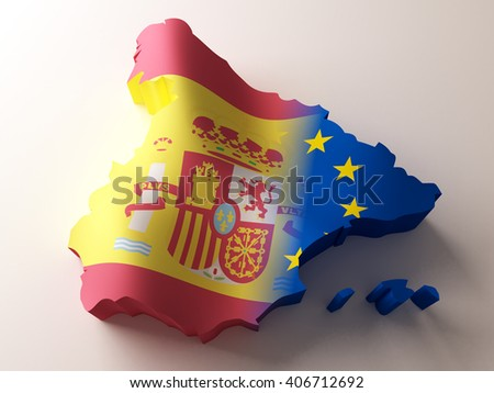 Flag map of Spain and European Union on white background. 3d  illustration. - stock photo