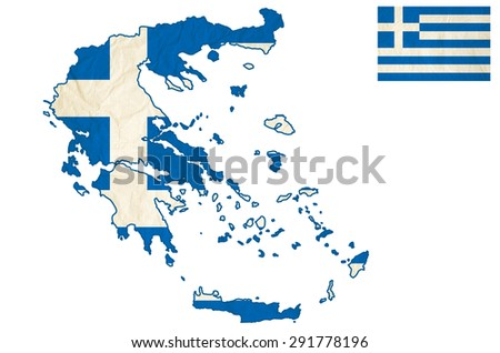 Flag map of the Greece with vintage old paper - Hellenic Republic, isolate on white with clipping - stock photo