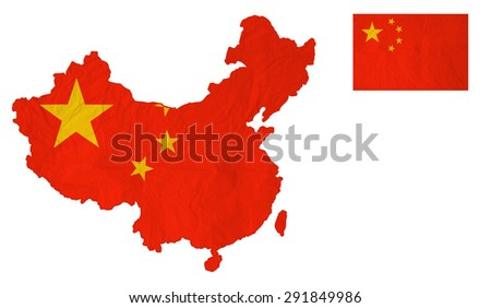 Flag map of the People's Republic of China with vintage old paper, isolate on white with clipping path - stock photo