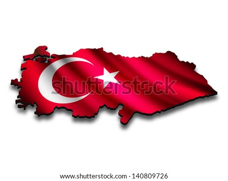 Flag map of Turkey in perspective. Waving Turkish flag clipped in country shape. - stock photo
