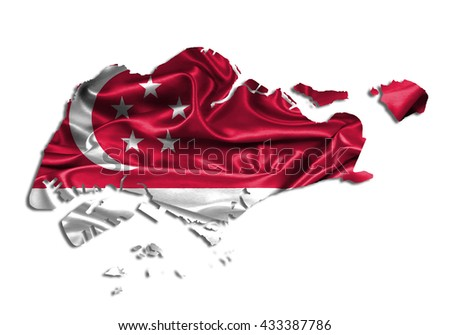 Flag map-singapore country on white background. - stock photo