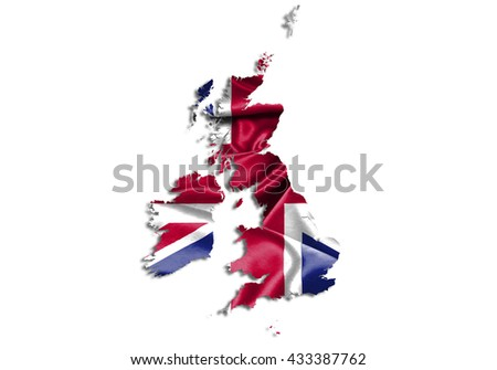 Flag map-united Kingdom country on white background.