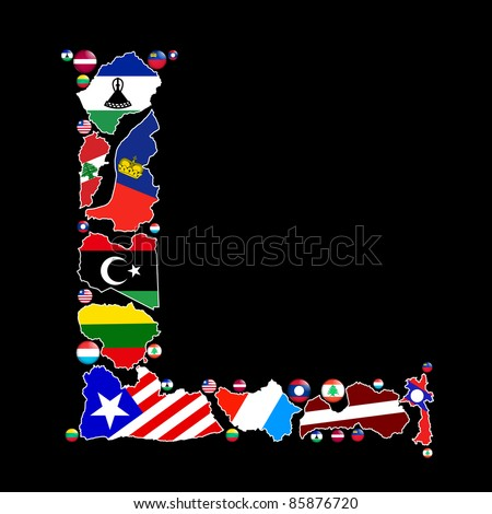 Flag maps and flag badges of all the countries in the world starting with the letter L make up the letter L. - stock photo