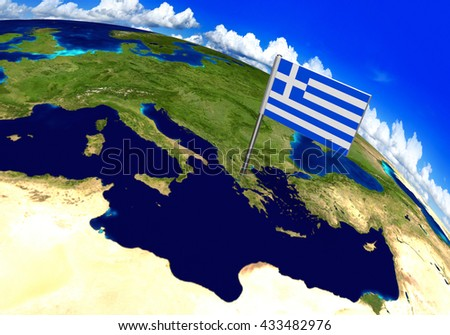 Flag marker over country of Greece on world map 3D rendering, parts of this image furnished by NASA - stock photo