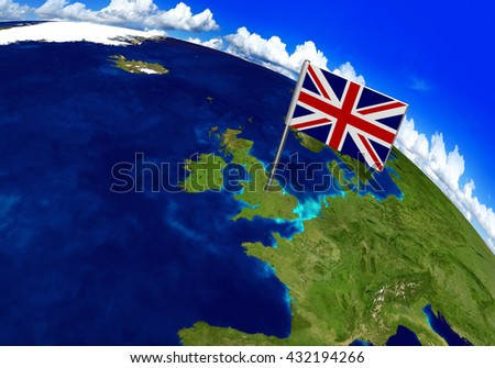 Flag marker over country of United Kingdom on world map 3D rendering, parts of this image furnished by NASA - stock photo