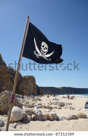 Flag of a Pirate skull and crossbones - Pirates Flag - stock photo