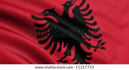 Flag Of Albania - stock photo