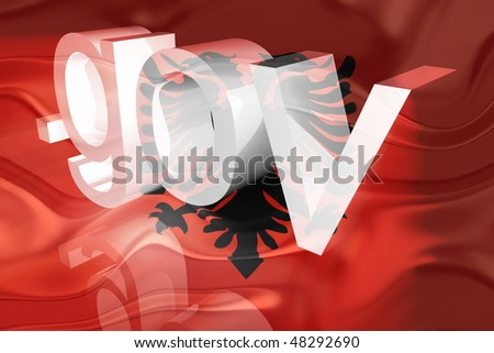 Flag of Albania, national country symbol illustration wavy gov government website