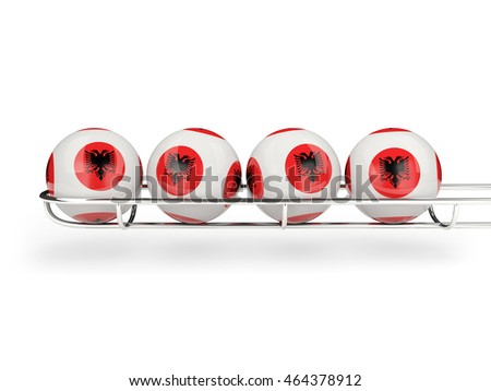 Flag of albania on lottery balls. 3D illustration