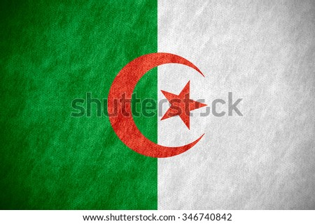 flag of Algeria or Algerian banner on canvas texture