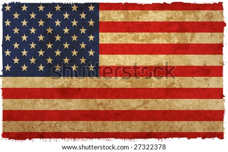 flag of america - old and worn paper style - stock photo