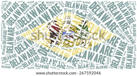 Flag of American state - Delaware. Word cloud illustration. - stock photo