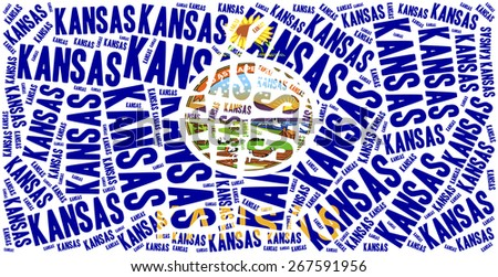 Flag of American state - Kansas. Word cloud illustration. - stock photo
