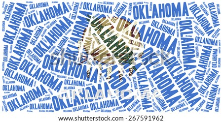 Flag of American state - Oklahoma. Word cloud illustration. - stock photo