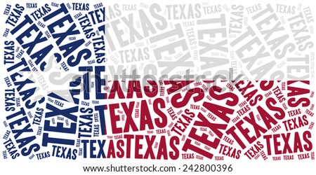 Flag of American state - Texas. Word cloud illustration. - stock photo