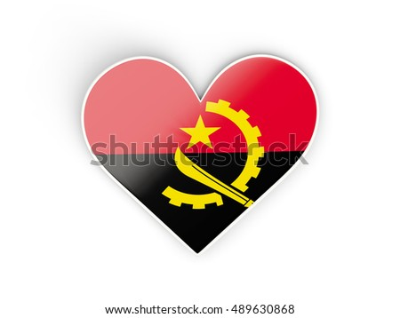 Flag of angola heart shaped sticker isolated on white 3d illustration
