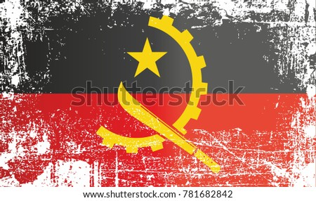 Flag of angola wrinkled dirty spots can be used for design stickers