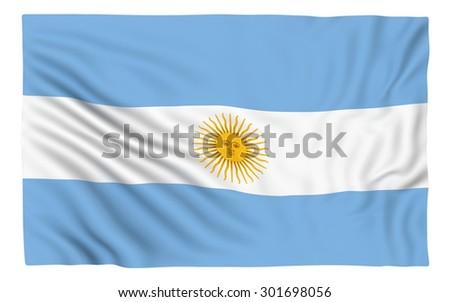 Flag of Argentina , isolated on white. - stock photo