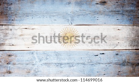 Flag of Argentine painted on grungy wood plank background - stock photo