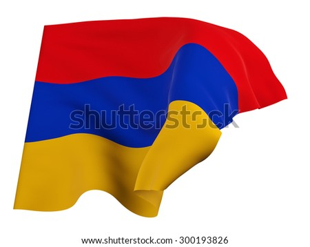 Flag of Armenia,isolated, waving in the wind