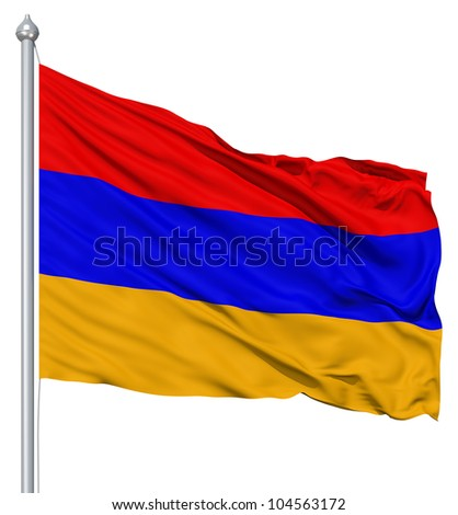 Flag of Armenia with flagpole waving in the wind against white background - stock photo