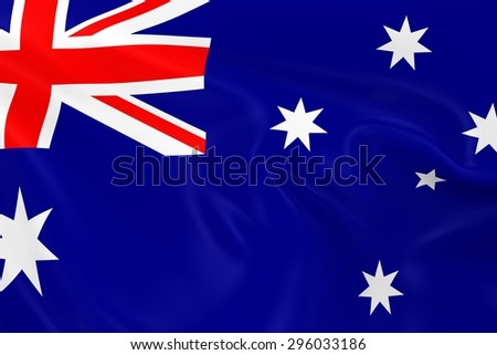 Flag of Australia- 3D Render of the Australian Flag with Silky Reflective Texture - stock photo
