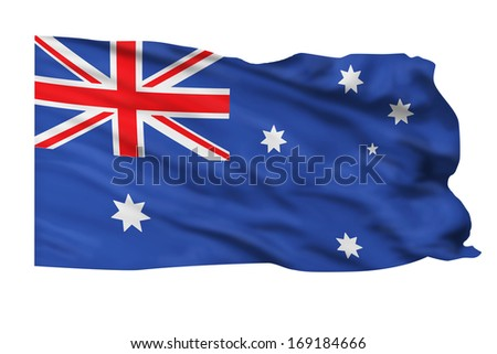 Flag of Australia flying high in the wind.