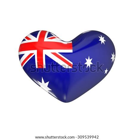 flag of Australia on the heart. 3d render illustration - stock photo