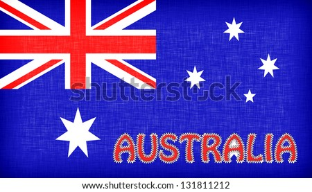 Flag of Australia with letters stiched on it - stock photo