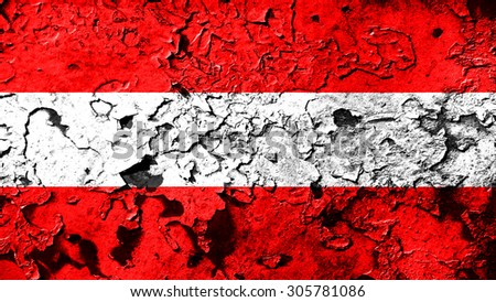 Flag of Austria, Austrian flag painted on cracked paint texture. - stock photo